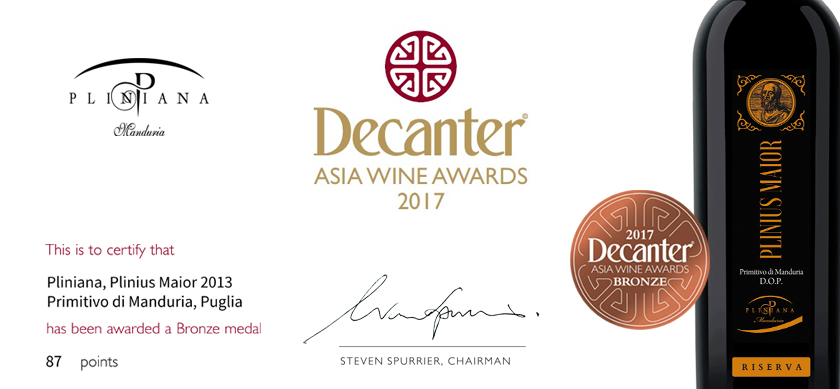 Decanter Asia Wine Awards al nostro Primitivo